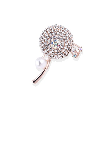 Glamorousky white Fashion Bright Plated Rose Gold Floral Imitation Pearl Brooch with Cubic Zirconia 999CAAC6228603GS_1