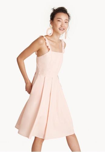 Pomelo orange Ruffle Strap Square Neck Dress - Peach 7F1FAAAC6C7C76GS_1