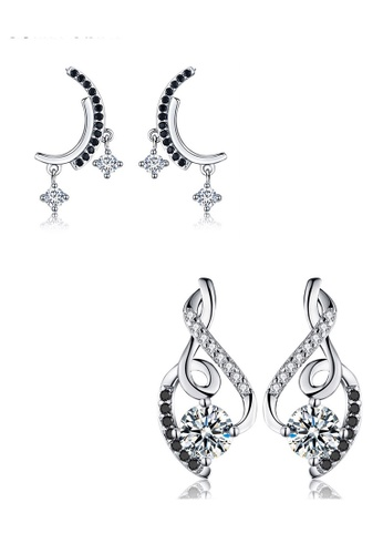 A-Excellence black Premium Elegant Black Silver Earring Set 8E0F2AC65E1E03GS_1
