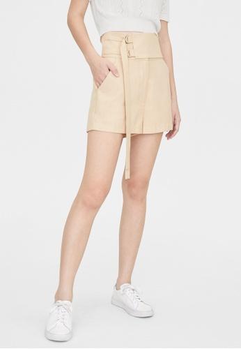 Pomelo beige Double Buckle Obi Belt Shorts - Beige 969EDAAC97DC67GS_1