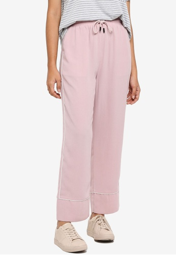 Something Borrowed pink Contrast Piping Pants 9E340AA18143FDGS_1