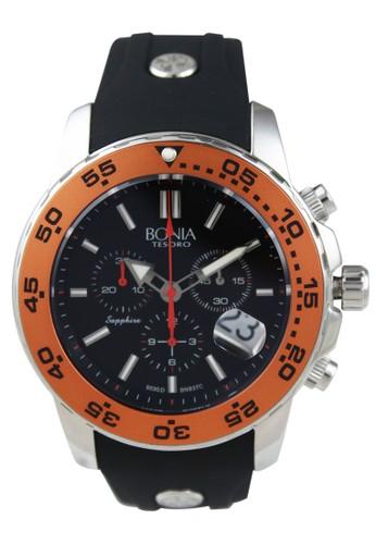 BONIA black and orange and silver Bonia B937-1322C - Jam Tangan Pria - Black Silver Orange 729DFAC3DCB8ACGS_1