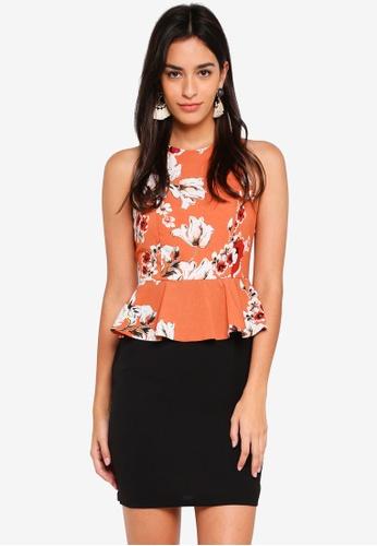 ZALORA orange Halter Neck Peplum Dress 9502BAAC775E56GS_1