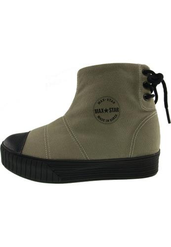 Maxstar 綠色 新款韩国鞋C30-BackLace時尚帆布布混合女綠色 US Women Size MA345SH45HDATW_1
