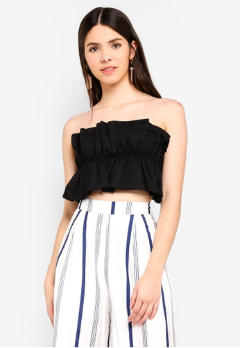 INDIKAH black Ruched Tie Back Crop Top 661C9AAA2E21C7GS_1