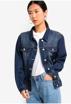de62dd402f3a ZALORA BASICS blue Denim Trucker Jacket D794EAAA544290GS 1