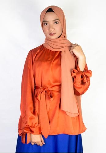 Zaryluq orange Ribbon Sleeve Top in Burnt Sienna 49B58AAB000387GS_1