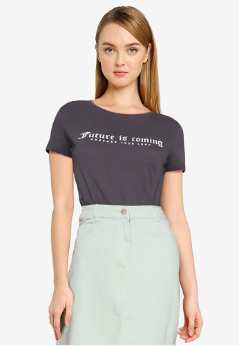 LC Waikiki grey Letter Printed Cotton T-shirt 3D9E1AABB27256GS_1