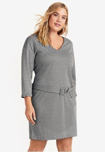 Violeta by MANGO grey Plus Size Houndstooth Dress 9960DAA5CB64C3GS_1
