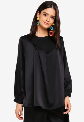 Zalia black Asymmetric Drape Blouse 83008AA80418F9GS_1