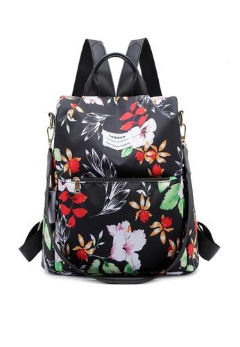 Twenty Eight Shoes black VANSA Floral Printed Nylon Oxford  Backpacks VBW-Bp1043 5D2C8ACA454C20GS_1