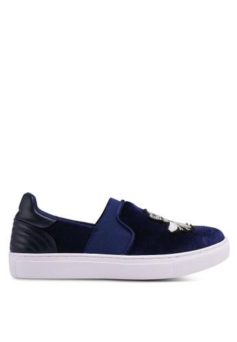 Nose 海軍藍色 絲絨拼接刺繡運動鞋 91A89SHD608D61GS_1