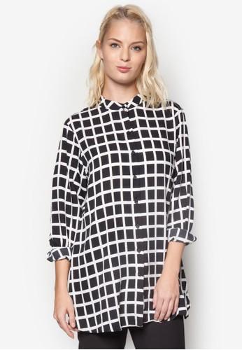 格紋寬版長袖襯衫, 韓系時尚, esprit outlet 桃園梳妝