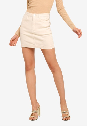 MISSGUIDED beige Petite Superstretch Denim Skirt 3D9D7AA967C619GS_1