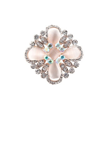 Glamorousky white Fashion and Elegant Plated Rose Gold Geometric Cross Opal Brooch with Cubic Zirconia F6442AC66B08D8GS_1