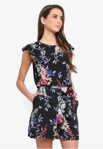 ESPRIT black Woven Printed Playsuit FA623AAB80C847GS_1