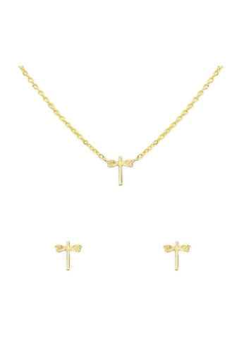 Kitsch gold Dragonfly Necklace & Earring Set Gold 4A835ACCDB2011GS_1