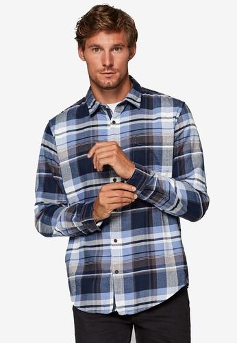 ESPRIT 藍色 格紋法蘭絨襯衫 123A6AA0ABF713GS_1