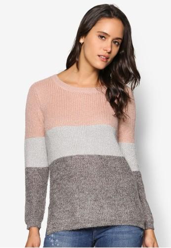 撞色條紋長袖織衫, 服飾, 服zalora退貨飾