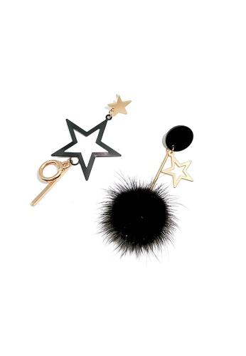 Mellow black Asymmetrical Star Earrings 9892AAC67676DAGS_1