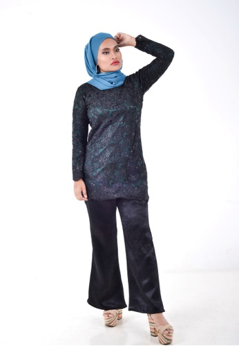 Assie Modesty black and green Lux Lacey With Bootcut C52ABAA1B994FEGS_1