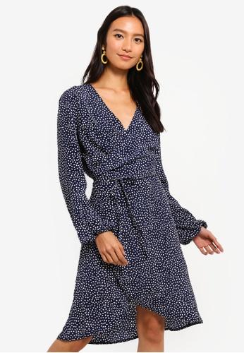 Mela London navy Spotty Wrap Long Sleeve Dress 506A0AA91E5E03GS_1