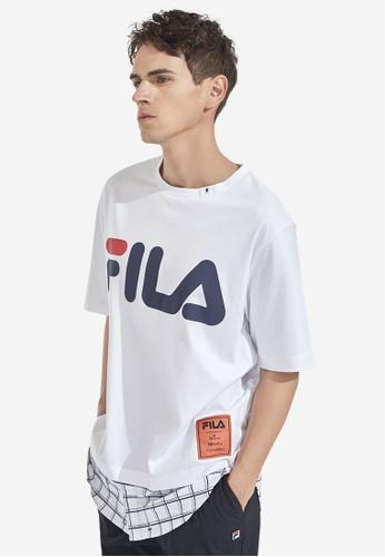 FILA white FILA × Maison MIHARA YASUHIRO FILA Logo Checked Cotton T-shirt BF87EAA863A4C8GS_1