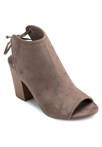 Shone 露趾鞋背繫帶粗跟esprit台灣涼鞋, 女鞋, 鞋
