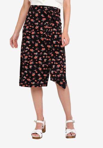 LC Waikiki black Asymmetrical Viscose Skirt B173FAA5743DB1GS_1