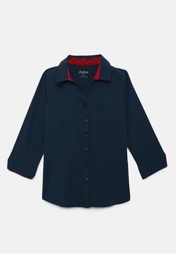 ZALZA blue 100% Organic Cotton Tansa Girls Fashion Top - Blue AC545KAE18A00EGS_1