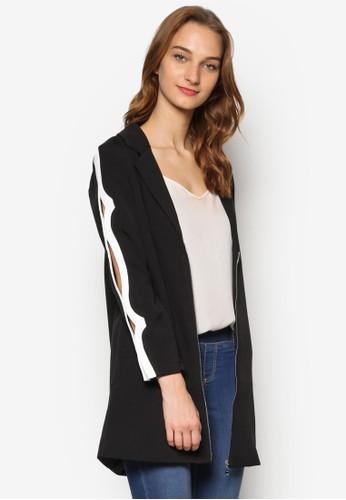 撞色滾邊鏤空長袖拉鍊外套, 服飾, 女性esprit 尖沙咀服飾