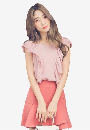 YOCO pink Eyelash Lace Ruffle Sleeveless Top DA649AA583294DGS_1