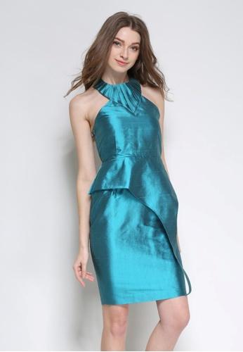 Sunnydaysweety blue Cyan Silk Halter Peplum One Piece Dress K20043094 06180AA3B97104GS_1