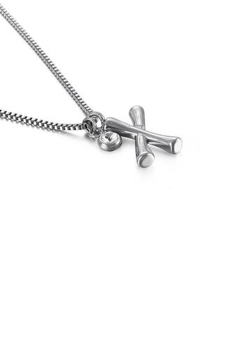 Glamorousky 白色 時尚簡約英文字母X 316L鋼吊墜配鋯石及項鏈 9CD1FACAFB93DBGS_1