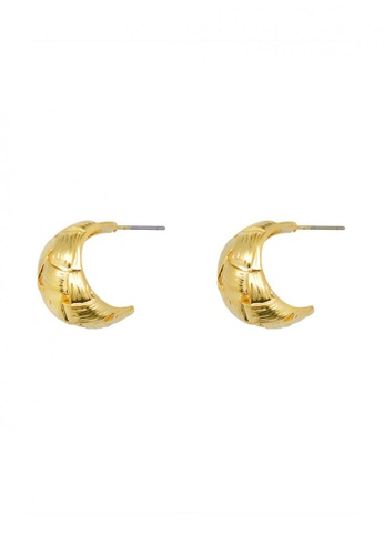 SKEDA gold Gold Weave Crescent Earrings 276ACACC583DD6GS_1