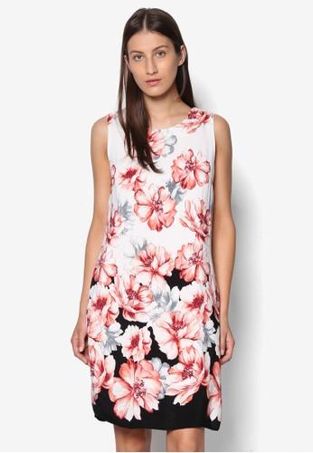撞色花卉連身裙, 服飾zalora 內衣, 洋裝