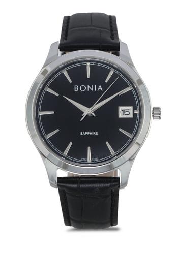 BONIA black Bonia BNB10323-1332 Black Leather Watch BO777AC0SE0HMY_1