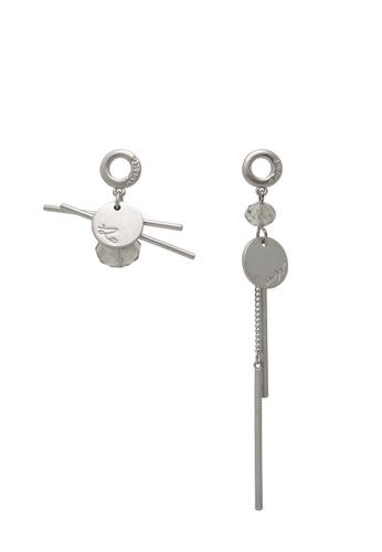 Jaysa Collection silver Avant Garde Matt Silver Asymetric Earrings JA875AC0GO8SSG_1