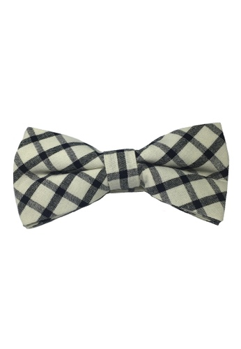 Splice Cufflinks white Folks Series Black Checked Design White Cotton Pre-Tied Bow Tie SP744AC48TZBSG_1