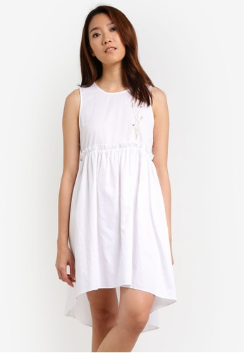 Something Borrowed white Button Detail Sleeveless Babydoll Dress 1DD75AAABE40D1GS_1