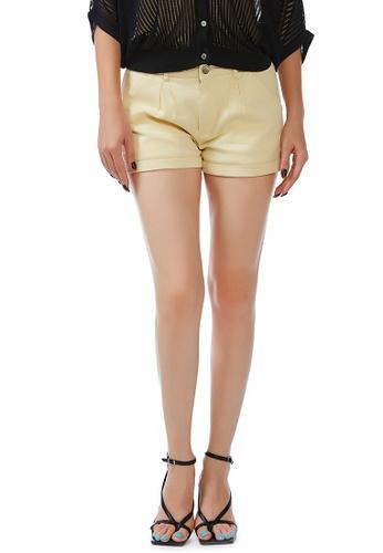 London Rag yellow Light Yellow Pleated Shorts 6164FAAE7ED3E0GS_1