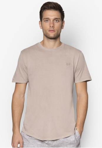 Factorie brown Shaded Arched Emb Tee FA880AA05PUSMY_1