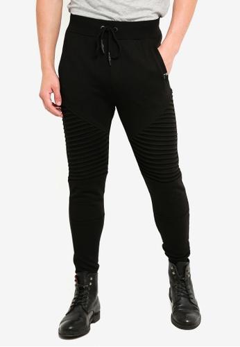 Indicode Jeans 黑色 羅紋拼接慢跑褲 4E50EAA23B028DGS_1