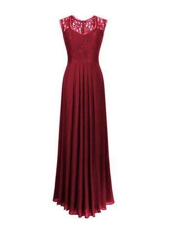 Twenty Eight Shoes red VANSA Lace And Chiffon Maxi Dress  VCW-D0725 3ABD3AA46759CEGS_1