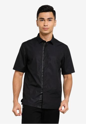 ck Calvin Klein black POPLIN SHIRT WITH JACQUARD LOGO TAPE 67B3CAAEC886F7GS_1