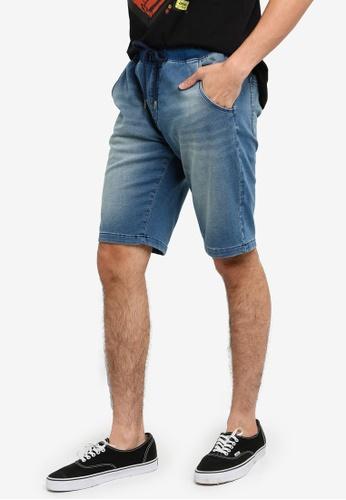 OVS 藍色 Men's Faux 丹寧短褲 8B424AAC9E1FB5GS_1