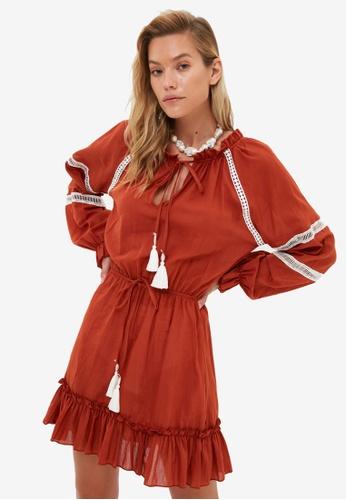 Trendyol brown Tie Front Beach Dress 5910CAA83C5D77GS_1