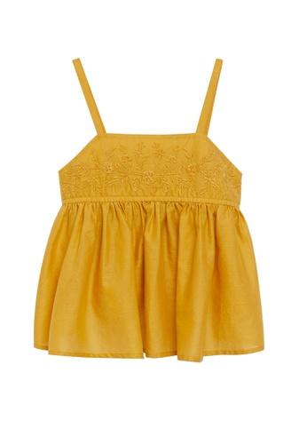 MANGO KIDS yellow Cotton Embroidered Blouse 9C854KA405D0E7GS_1