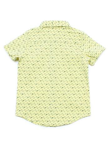 Mini Moley yellow Rose Print Motif Boy's Short Sleeve Shirt 23F34KA8D6AAC0GS_1