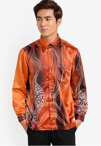 Gene Martino brown Long Sleeve Batik Shirt GE222AA07HCMMY_1